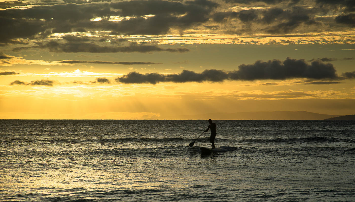 Paddleboard at sunset - Maui, HI | Pono Images