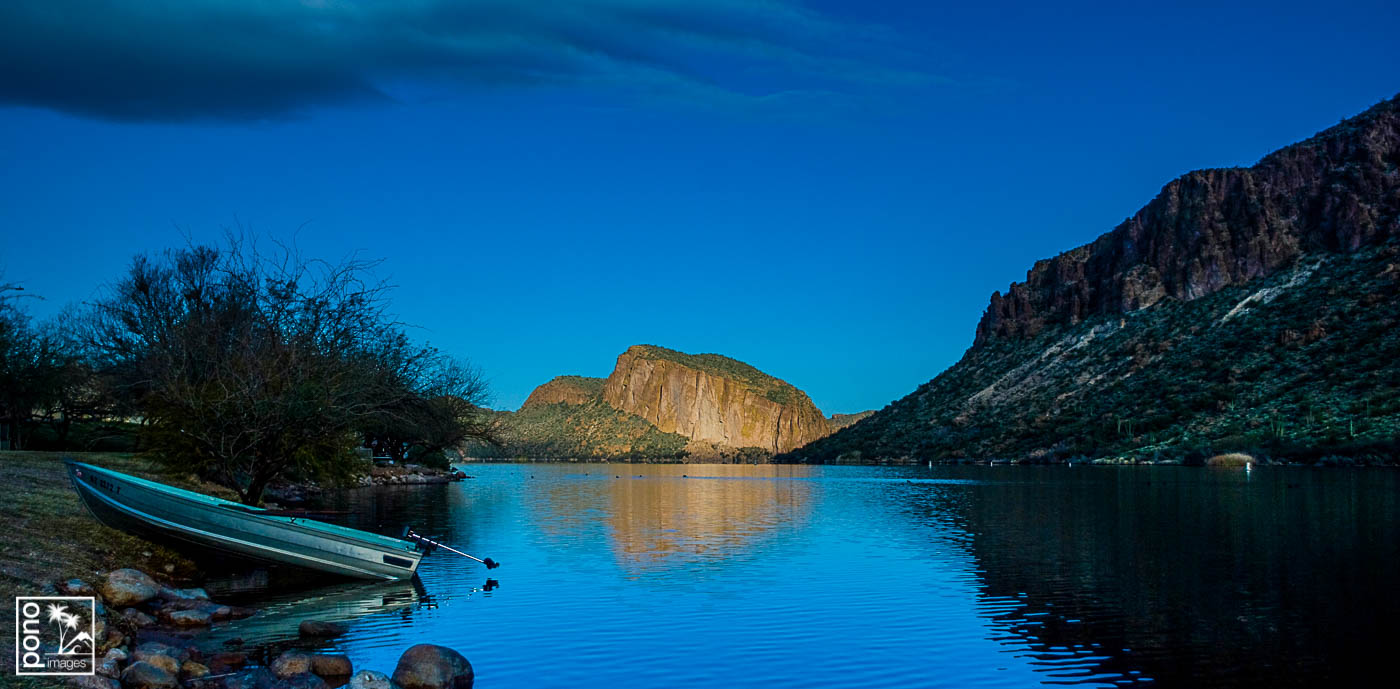 Morning on Cactus Lake, on the Apache Trail outside Tortilla Fla