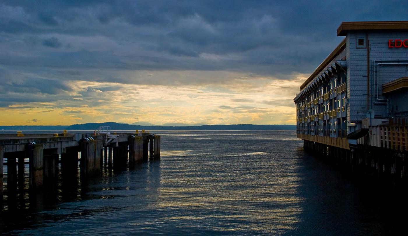 Sunset, Port of Seattle, Seattle Washington   Pono Images