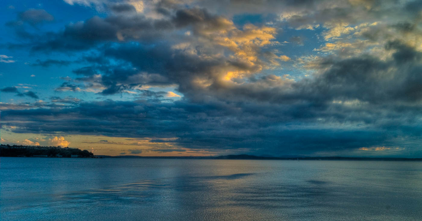 Sunset clouds, Puget Sound, Seattle   Pono Images