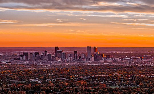 Denver Skyline Sunrise by Pono Images