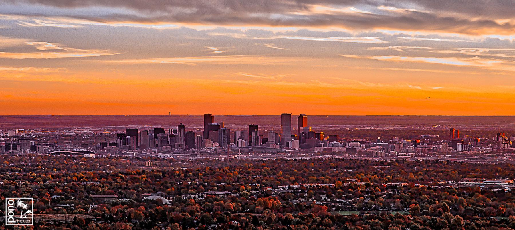 Denver Skyline Sunrise by Pono Images