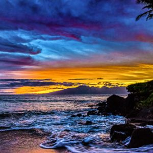 West Maui Sunset Glow & Moloka'I Glow by Pono Images